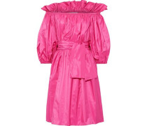 Woman Aubrie Off-the-shoulder Belted Taffeta Dress Bright Pink