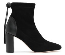 Leather-paneled Suede Ankle Boots Black