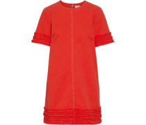 Ashton Frayed Stretch-cotton Twill Mini Dress Papaya Size 0
