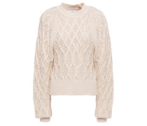 Woman Cable-knit Cotton Sweater Ecru