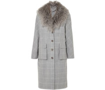 Shearling-trimmed Checked Woven Coat Gray Size 0