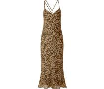 Draped Leopard-print Silk-chiffon Midi Slip Dress Animal Print Size 0