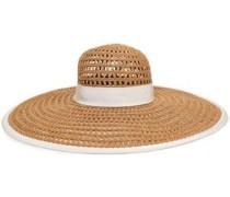 Grosgrain-trimmed Woven Sun Hat Ivory Size ONESIZE