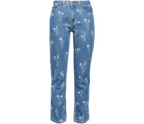 Floral-print Mid-rise Straight-leg Jeans Mid Denim  5
