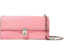 Rockstud Leather Clutch Baby Pink Size --