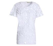 Floral-appliquéd guipure lace top