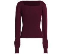 Cutout ribbed merino wool sweater