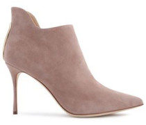 Woman Cutout Suede Ankle Boots Blush