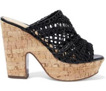 Faux Leather And Cork Platform Mules Black