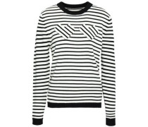 Nessa Appliquéd Striped Wool Sweater Black