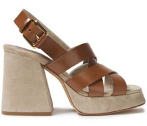 Woman Leather Platform Slingback Sandals Light Brown