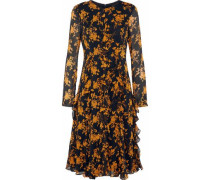 Ruffled floral-print georgette dress
