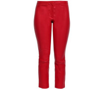 Cropped Leather Skinny Pants Red