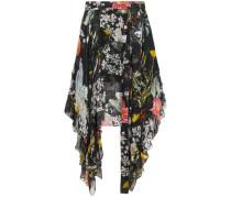 Alanis asymmetric floral-print devoré silk-blend chiffon skirt