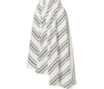 Woman Asymmetric Striped Linen And Silk-blend Skirt Off-white