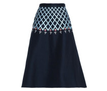 Flared embroidered cotton-faille midi skirt