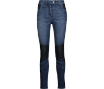 Asha Paneled High-rise Skinny Jeans Dark Denim  7