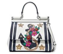 Sicily Embellished Textured-leather Shoulder Bag White Size --