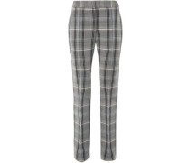 Woman Checked Wool And Cotton-blend Twill Slim-leg Pants Gray
