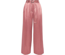 Woman Blanche Belted Pleated Satin-twill Wide-leg Pants Antique Rose