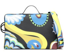 Printed leather suitcase