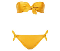 Woman Knotted Bandeau Bikini Marigold