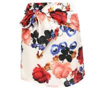 Woman Tie-front Floral-print Silk-satin Mini Skirt Ivory