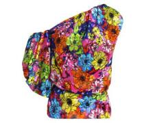 One-shoulder floral-print devoré-velvet top