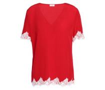 Buzz lace-trimmed crepe top
