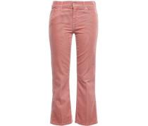 Cropped Cotton-blend Corduroy Bootcut Pants Antique Rose  4