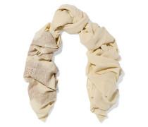 Lace-appliquéd silk-blend scarf