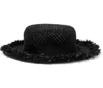 Brigitte frayed metallic tweed fedora