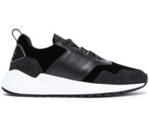 Color-block Suede, Leather And Velvet Sneakers Black