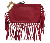 Aries fringe-trimmed embellished textured-leather clutch