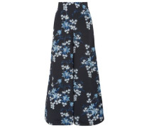 Dream State Floral-print Silk Crepe De Chine Wide-leg Pants Midnight Blue Size 0