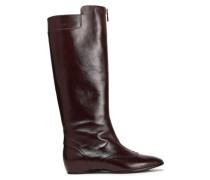 Glossed-leather Knee Boots Merlot