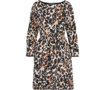 Gathered Leopard-print Cotton-poplin Dress Animal Print