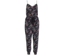 Woman Printed Silk Crepe De Chine Jumpsuit Black
