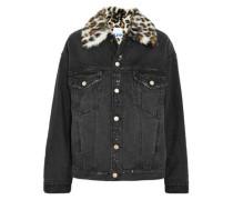 Leopard-print Faux Fur-trimmed Distressed Denim Jacket Black