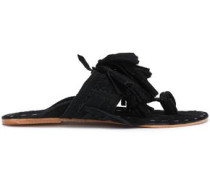 Tasseled Braided Suede Sandals Black