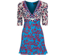 Colette Floral-print Silk Crepe De Chine Mini Dress Turquoise Size 12