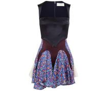 Paneled printed satin mini dress