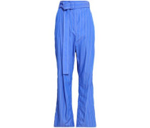 Pinstriped Cotton-poplin Straight-leg Pants Blue