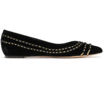 Woman Metallic Embroidered Velvet Point-toe Flats Black
