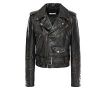 Woman Painted Leather Biker Jacket Black