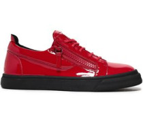 Woman Vernice Zip-detailed Patent-leather Sneakers Red