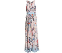 Pleated printed silk-blend crepe de chine gown