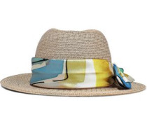 Lillian Printed Faille-trimmed Woven Straw Hat Sand Size ONESIZE