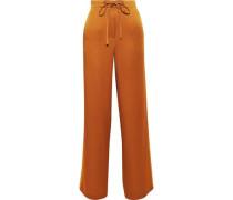 Satin-crepe Wide-leg Pants Copper