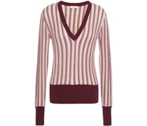 Woman Pierette Striped Pointelle-knit Silk And Cotton-blend Sweater Pastel Pink